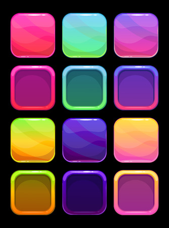 Funny bright colorful ui elements, square vector buttons and frames for app design  イラスト・ベクター素材