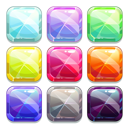 square buttons: Colorful vector crystal square buttons, isolated app icons Illustration