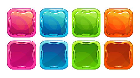concave: Fancy vector colorful bright buttons and app icon frames, isolated on white