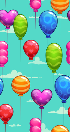 Long vertical seamless pattern with colorful balloons on the cloudy sky, mobile phone screen wallpaper
