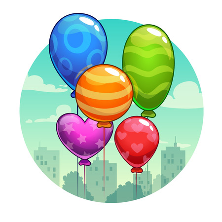 flying balloon: Vector illustration with cute cartoon colorful balloons, greeting card template