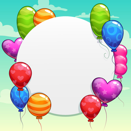 cute cards: Funny cartoon background with bright colorful balloons, vector illustration