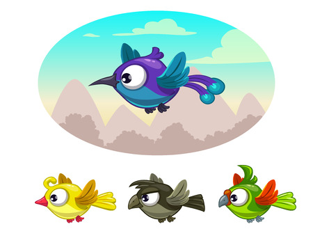 forelock: Funny cartoon flying different birds, vector illustration