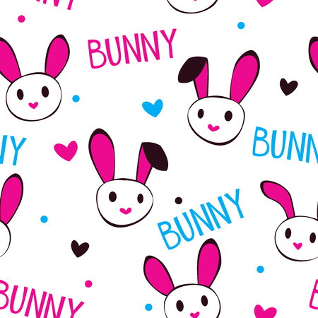 t square: Funny girlish texture with bunny faces and letters on white, vector seamless pattern Illustration