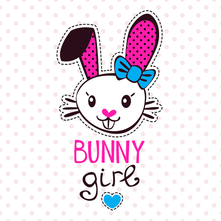 tshirts: Cute bunny girl, fancy girlish vector illustration, template for girls t-shirts design Illustration