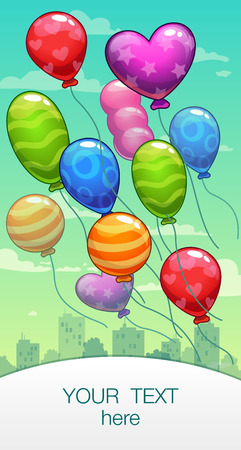 cartoon banner: Vertical vector banner with cartoon colorful balloons on the sky Illustration