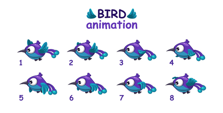 Funny blue cartoon bird flying storyboard, separated frames for animation