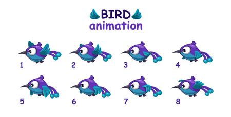 Grappig blauwe cartoon vogel vliegen storyboard, gescheiden frames voor animatie Stock Illustratie