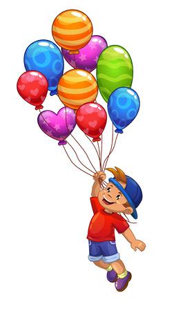 prankster: Little boy is flying on balloons, vector illustration, isolated on white