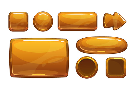 Cartoon bronze game UI assets, vector metallic gui, isolated on white Çizim