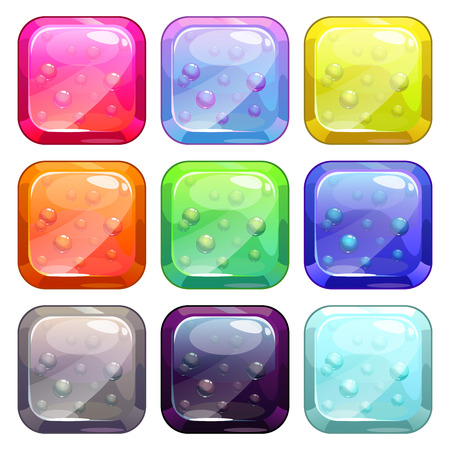 glossy buttons: Fancy colorful glossy buttons set with bubbles in, vector isolated