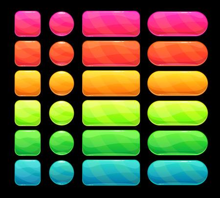 明るいスペクトル ボタン設定、web またはゲームの ui デザインの要素をベクトル
