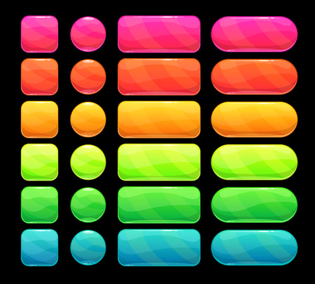 Bright spectrum buttons set, vector elements for web or game ui design