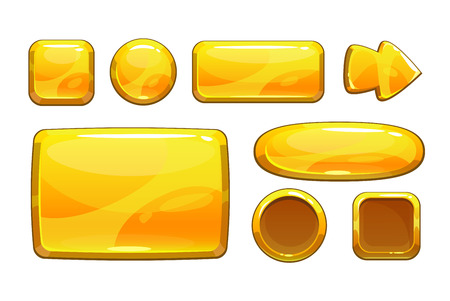 Cartoon golden game assets, vector metalic gui, isolated on white