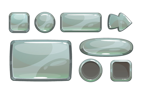 Cartoon silver game assets, vector metalic gui, isolated on white  イラスト・ベクター素材