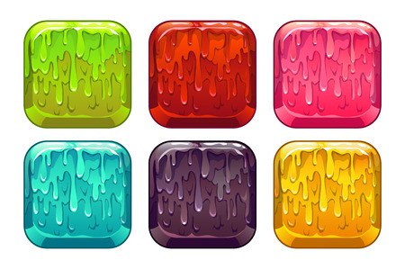 Vector square colorful slime buttons set, isolated on white