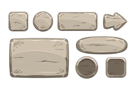 Cartoon steen spel activa ingesteld, geïsoleerd op wit, vector