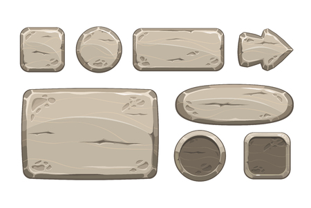 panel: Cartoon stone game assets set, isolated on white, vector