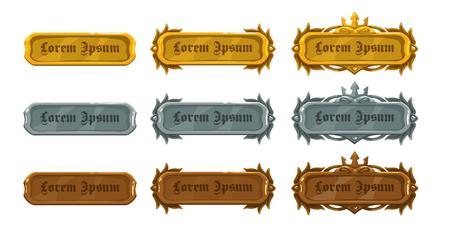 Cartoon vector metalen knoppen set, goud, zilver en brons middeleeuwse spel activa upgrade Stock Illustratie