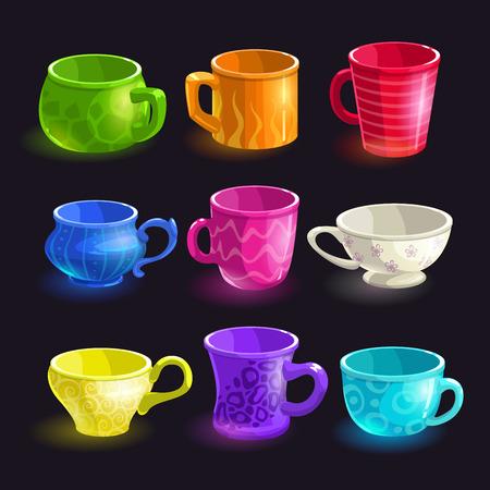 cup: Colorful cartoon tea cups set, vector illustration