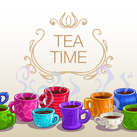 time square: Tea time square banner, vector template with hot colorful tea cups