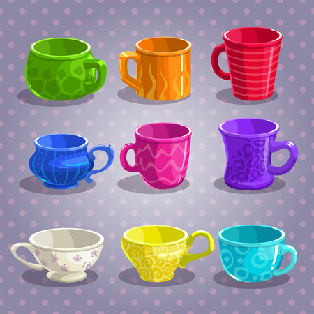 Colorful cartoon tea cups set, vector illustration