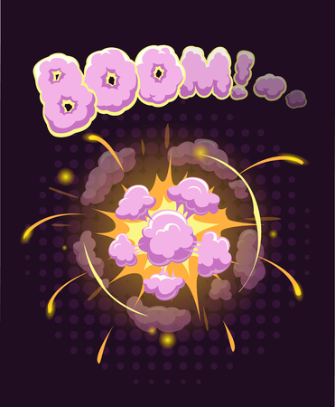 bomb: Big cool explosion background, vector illustration with bomb bang Illustration