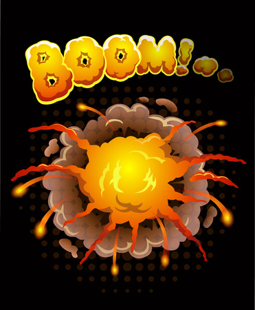 bomb explosion: Big cool explosion background, vector illustration with bomb bang Illustration