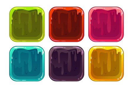 slimy: Cartoon slimy app frames, vector colorful backgrounds for application icons design