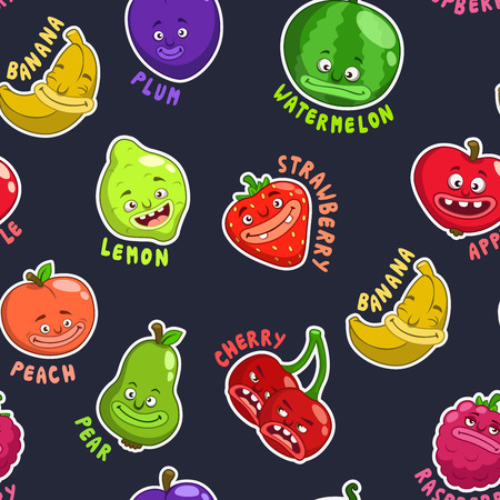 names: Seamless pattern with funny cartoon fruit characters, vector texture