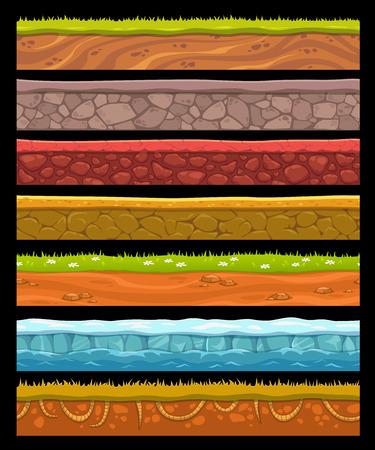 terreno: Elementi del paesaggio senza soluzione di continuità set, vettore di raccolta a terra Vettoriali
