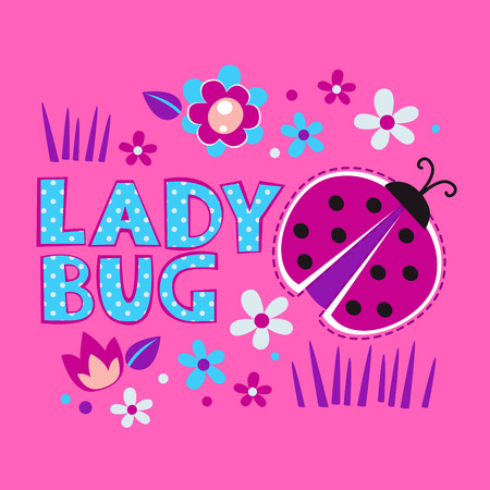 girlish: Cute girlish illustration with ladybug and flowers, vector template for t-shirts design