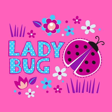 catarina caricatura: Ilustración de niña linda con la mariquita y flores, vector plantilla para las camisetas de diseño