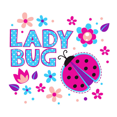 cute girl cartoon: Cute girlish illustration with ladybug and flowers, vector template for t-shirts design