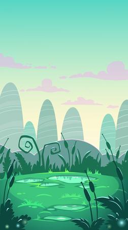 Cartoon vertical landscape illustration, vector nature background Vettoriali