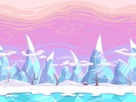 Naadloze vector cartoon fantasie landschap met ijs bergen, gescheiden lagen voor game design