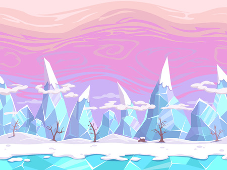 Seamless vector cartoon fantasy landscape with ice mountains, separated layers for game design Vectores