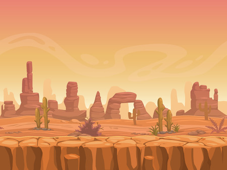cactus desert: Seamless prairie landscape, nature unending background, separated layers ready for animation Illustration