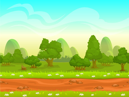 country road: Cute cartoon seamless landscape with separated layers, summer day illustration