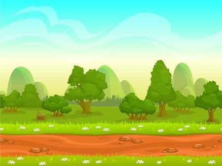 buisson: Paysage transparente mignon de bande dessinée avec des couches séparées, illustration jour d'été