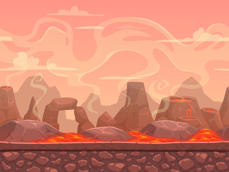 Seamless cartoon volcano desert landscape, separated layers for game design Ilustração
