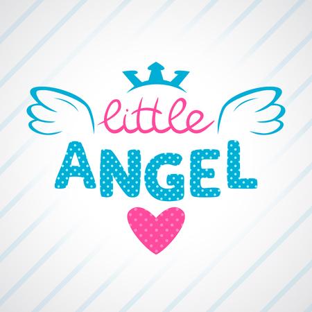baby angel: Carino illustrazione vettoriale ragazzina, modello vettoriale per le ragazze T-shirt Design