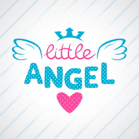 angel: Cute vector girlish illustration, vector template for girls t-shirts design