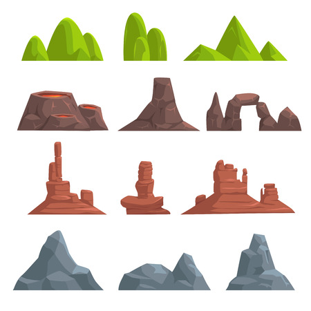 Cartoon hills and mountains set, vector isolated landscape elements for web or game design