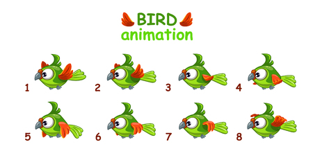 Funny cartoon flying green parrot, bird animation frames Illustration