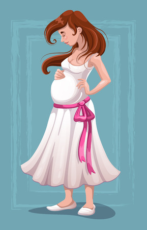 regnant: Beautiful young pregnant woman in white dress, vector illustration