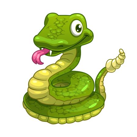 serpiente caricatura: Divertidos dibujos animados sonriendo serpiente verde, aislado ilustración vectorial