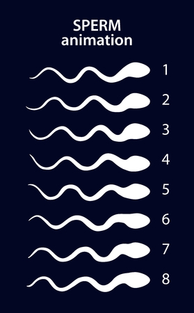 male sperm: Sperm activity sprites for animation, vector frames
