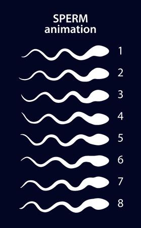 male sperm: Sperm activity sprites for animation, vector frames