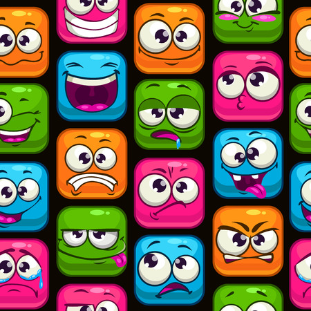 laughing face: Seamless pattern with funny cartoon colorful faces, vector texture